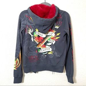 Ed Hardy Gray and Red Skull Graphic Y2K Hoodie